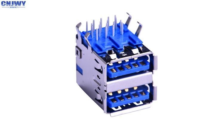 High Speed Date Wire Input Output Connectors Double Layer DIP Type Blue Plastic