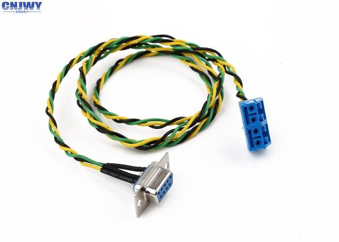 9 Pins Female D - Sub Custom Wiring Harness Plug In Terminal Block Colorful Wire