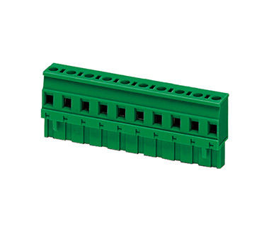 H26.0mm DIP Plug In Terminal Block Connector 1*09P Green PA66 SN Plated 30-12AWG